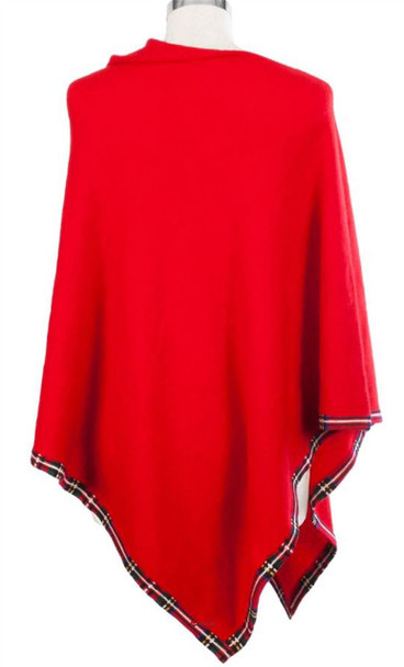 Cashmere Poncho with Tartan Edge Trim in Red 81cm Long