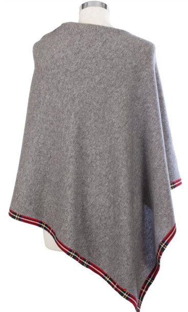 Cashmere Poncho with Tartan Edge Trim in Grey 81cm Long