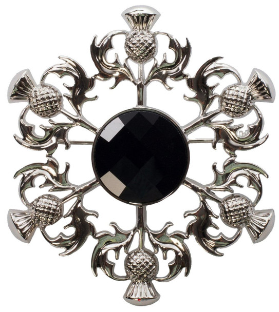 Thistle Brooch with Black Square Pattern Stone Chrome Finish