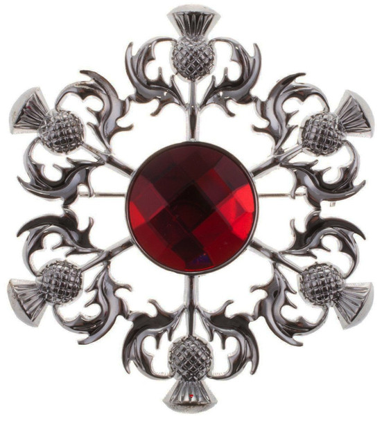 Thistle Brooch with Red Square Pattern Stone Chrome Finish
