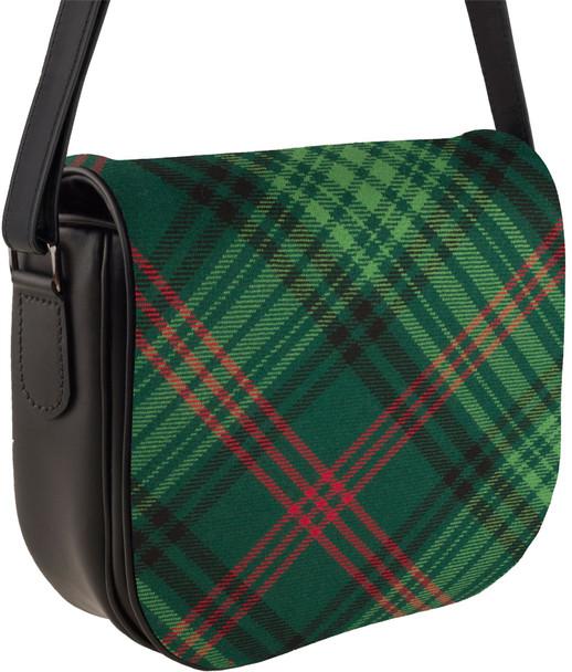 Leather Handbag Shoulder Bag With Ross Tartan With Inside and Back Pocket