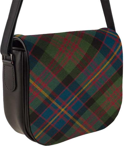 Leather Handbag Shoulder Bag Cameron Of Erracht Tartan Inside and Back Pocket