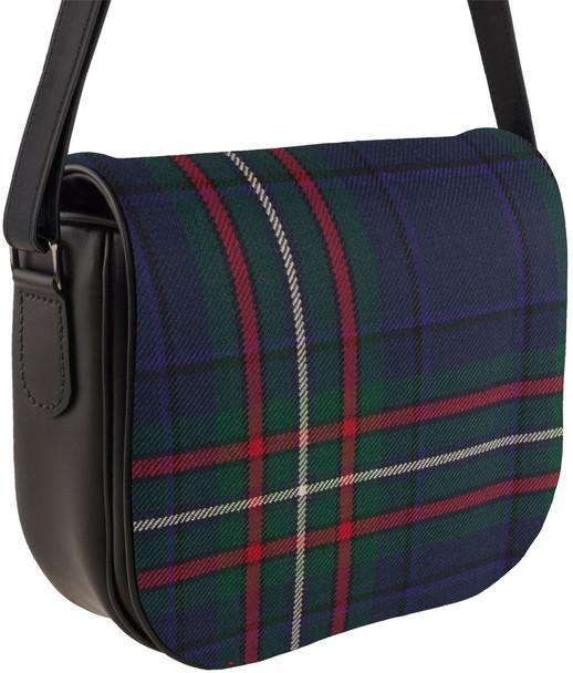 Leather Handbag Shoulder Bag Scottish Heritage Tartan Inside and Back Pocket