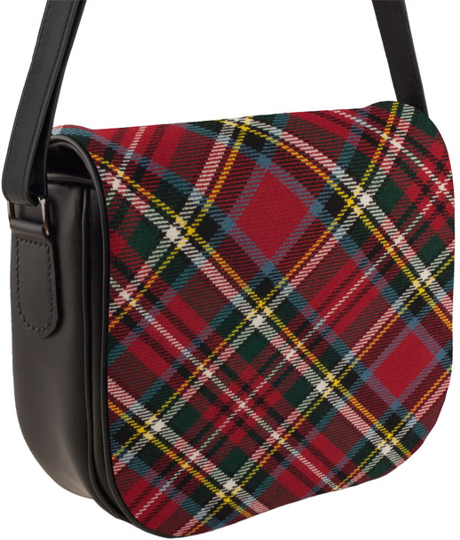 Leather Handbag Shoulder Bag Bonnie Prince Charlie Tartan Inside and Back Pocket