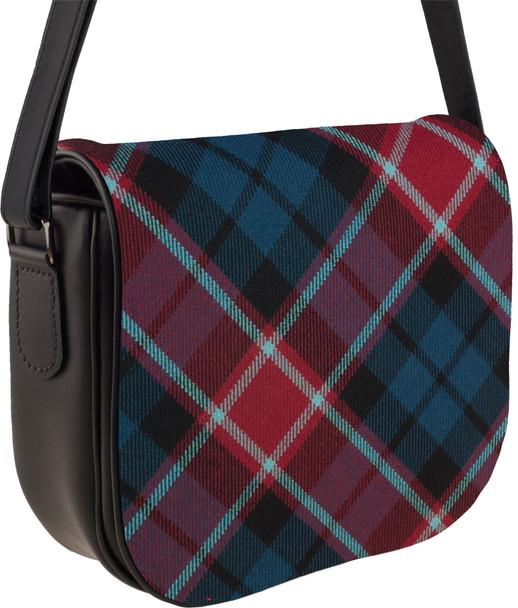 Leather Handbag Shoulder Bag Graham of Menteith Tartan Inside and Back Pocket