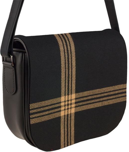 Leather Handbag Shoulder Bag Celtic Black Tartan With Inside and Back Pocket