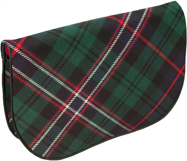 Large Leather Clutch Bag With Scotland National Tartan Inside and Back Pocket