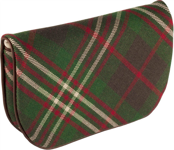 Large Leather Clutch Bag With Scott Tartan With Inside and Back Pocket
