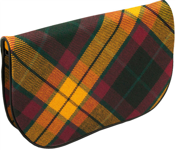 Large Leather Clutch Bag With MacMillan Tartan With Inside and Back Pocket