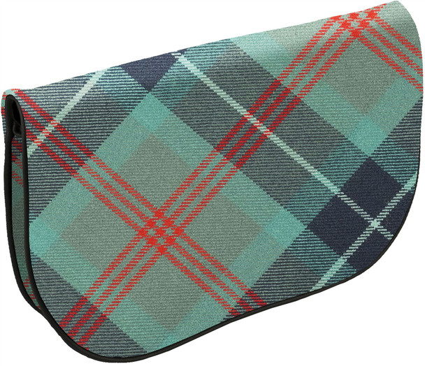 Large Leather Clutch Bag With Loch Ness Tartan With Inside and Back Pocket