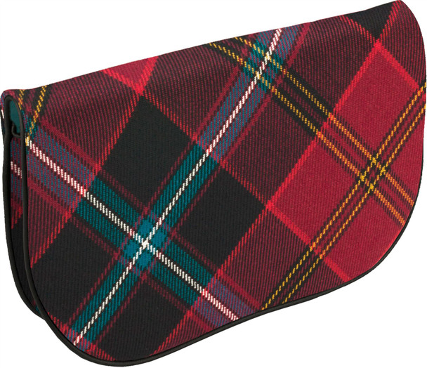 Large Leather Clutch Bag With German American Tartan With Inside and Back Pocket