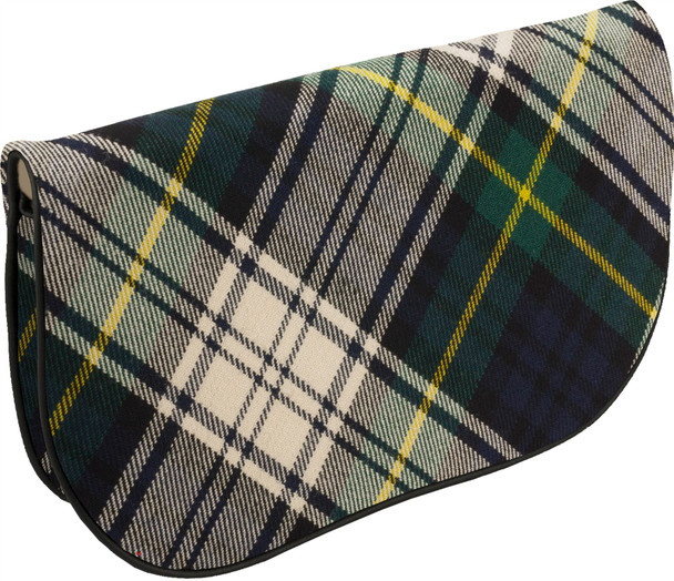 Large Leather Clutch Bag With Gordon Tartan With Inside and Back Pocket
