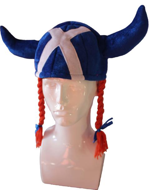 Fun Jessie Hat Blue Saltire Viking Horns and Pigtails