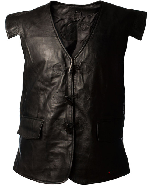 Waistcoat Leather Jacobite Black Long