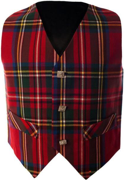 Boys Waistcoat Silk Back Adjustable Buckle Royal Stewart Tartan