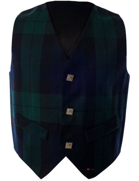 Boys Waistcoat Silk Back Adjustable Buckle Black Watch Tartan