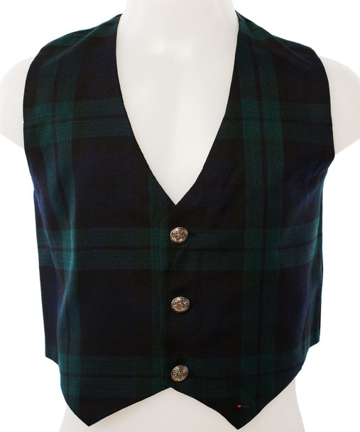 Kids Scottish Waistcoat In Black Watch Tartan Design