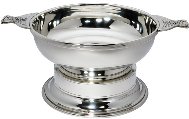 """Quaich Scottish Pewter 250mm 10"""" With Plinth Tasting Bowl Ideal Trophy Gift Engravable"""