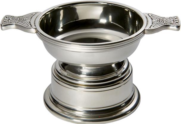 Quaich Scottish Pewter Medium Size 100mm With Plinth Tasting Bowl Ideal Christening Gift