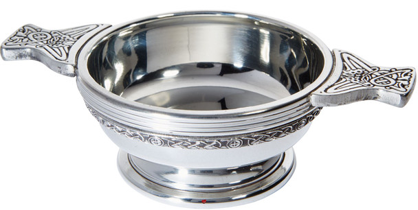 Pewter Quaich Scottish Celtic Band Standard Size Tasting Bowl Ideal Christening Gift Engravable