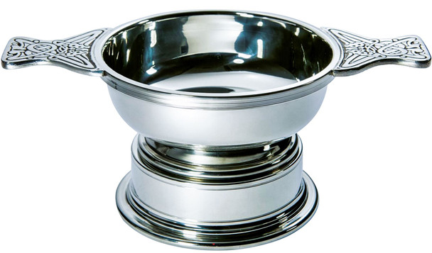 Quaich Scottish Pewter Large Size 115mm With Plinth Tasting Bowl Ideal Christening Gift