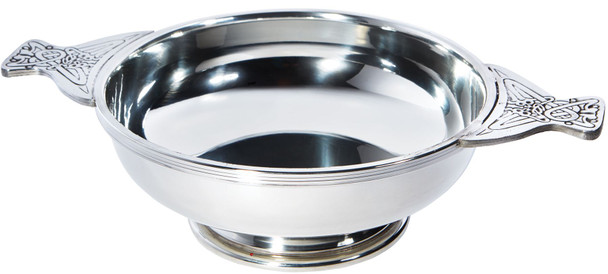 "Quaich Scottish Pewter 200mm 8""  Tasting Bowl Ideal Christening Gift Engravable"