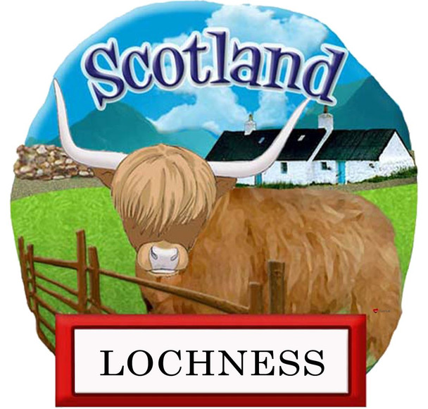 Resin Scottish Fridge Magnet Highland Cow In Field  Lochness Design Magnet