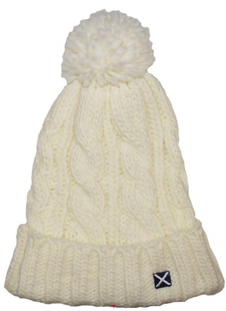 Scottish Cap Tweed Cap Co Saltire Logo Bobble Beanie White Design Flat Cap