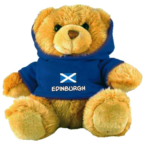 Adorable Fluffy Little Teddy Bear Souvenir Toy with A Blue Edinburgh Jumper