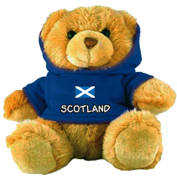 Adorable Fluffy Little Teddy Bear Souvenir Toy with A Blue Scotland Jumper
