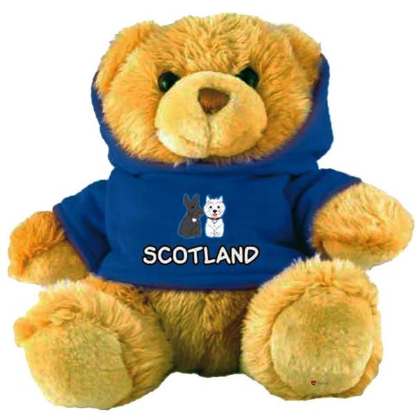 Adorable Fluffy Little Teddy Bear Souvenir Toy with A Blue Scottie Dog Jumper