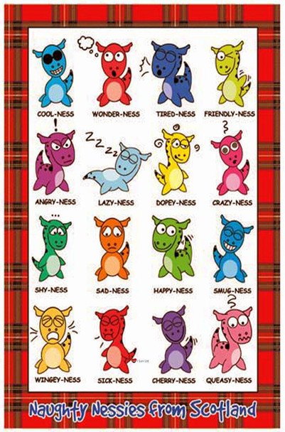 Naught Nessies Loch Ness Monster Macsots Tea Towel With Scottish Tartan