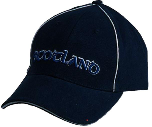 Navy Baseball Cap Scotland Scottish Design White Piping Scotland Cap