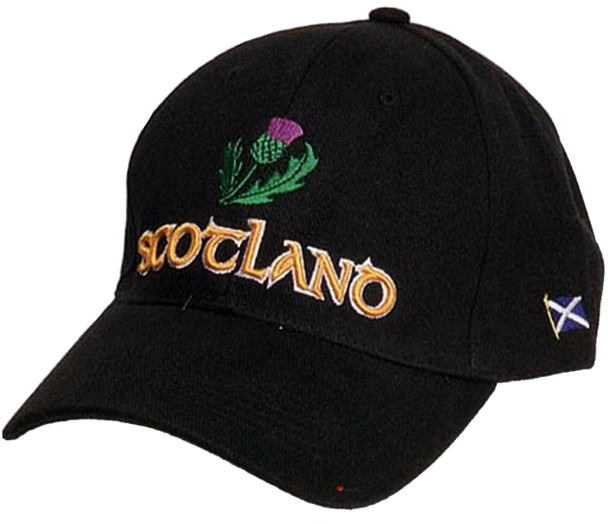 Black Baseball Cap Thistle Scottish Design Thistle Design Scotland Cap