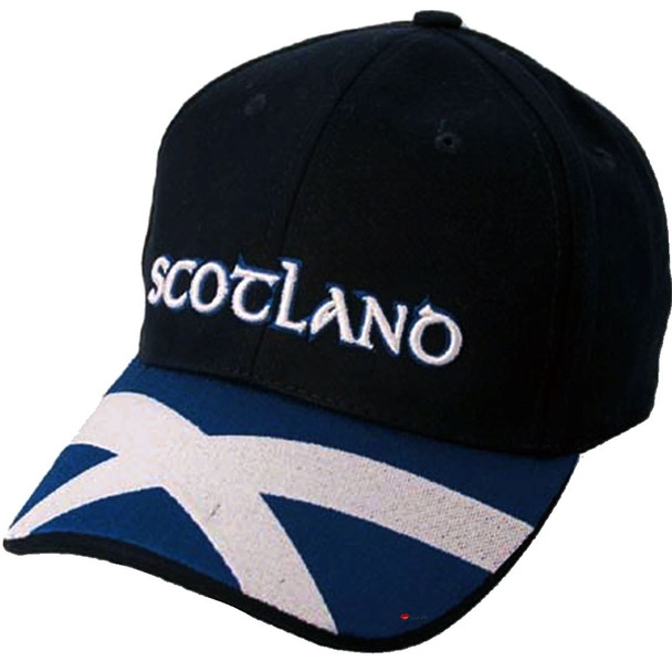 Navy Baseball Cap Saltire Peak Scottish Design Scotland Cap