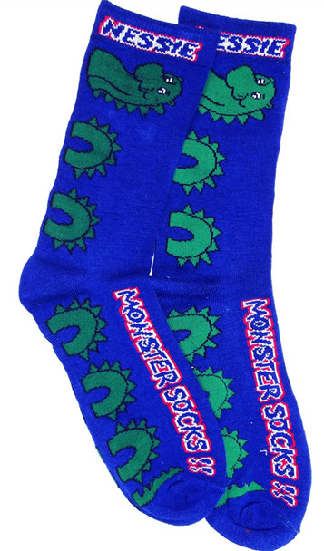 Long Nessie Monster Socks Blue Scottish Socks Gift Nessie Design