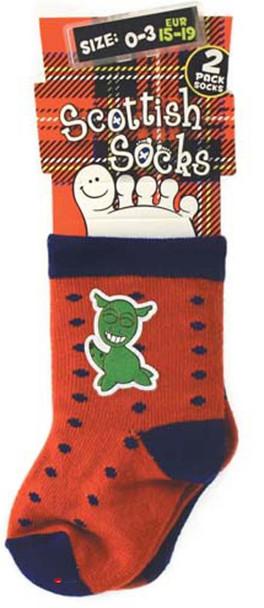 2 Pack Babies Socks Nessie Design Wee Loch Ness Monster Nessie Babies Socks
