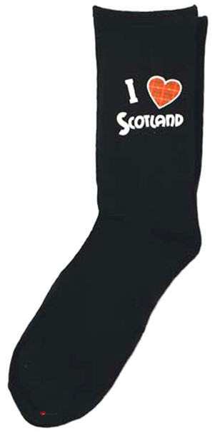 I Love Scotland Red Tartan Heart Black Socks Scottish Socks Gift Heart Design