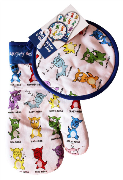 Naughty Nessies Double Oven Gloves and Pot Stand Loch Ness Mascot