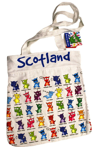 Naughty Nessies Cotton Shopper Bag Loch Ness Mascot