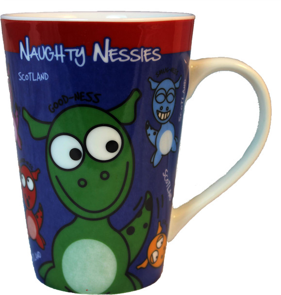 Blue Tea Coffee Mug with Scottish Naughty Nessies Loch Ness Mascots for Kitchen
