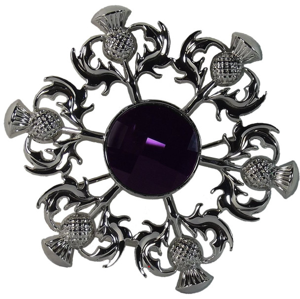 Thistle Brooch with Purple Square Pattern Stone Chrome Finish