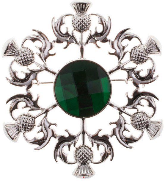 Thistle Brooch with Green Square Pattern Stone Chrome Finish
