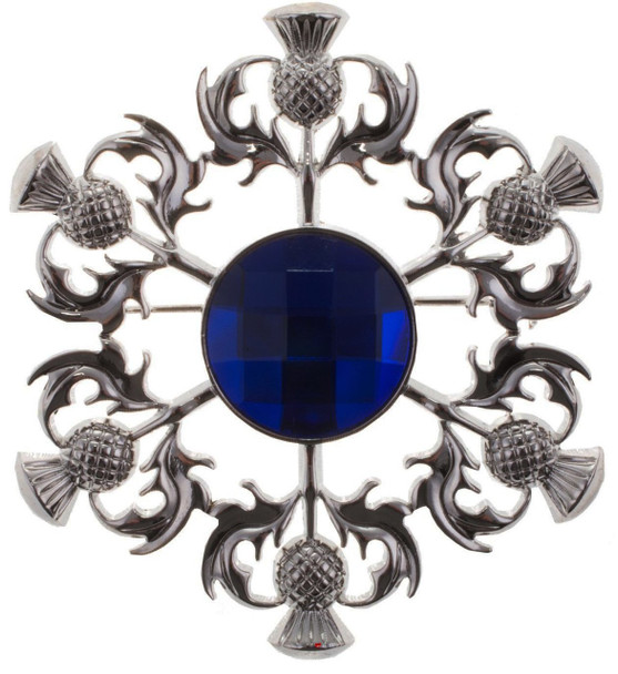 Thistle Brooch with Blue Square Pattern Stone Chrome Finish