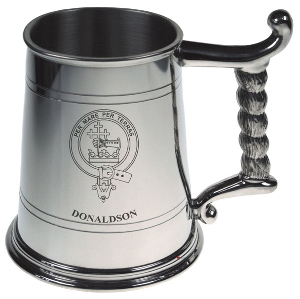Donaldson Crest Tankard with Rope Handle in Polished Pewter 1 Pint Capacity