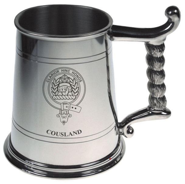 Cousland Crest Tankard with Rope Handle in Polished Pewter 1 Pint Capacity