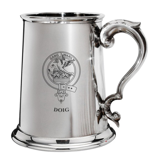 Doig Family Crest Polished Pewter 1 Pint Tankard with Scroll handle