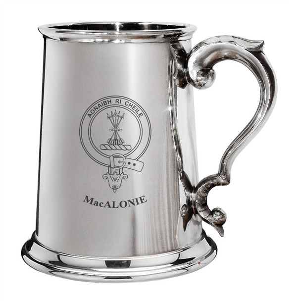 MacAlonie Family Crest Polished Pewter 1 Pint Tankard with Scroll handle