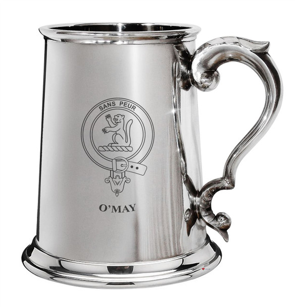 O'May Family Crest Polished Pewter 1 Pint Tankard with Scroll handle