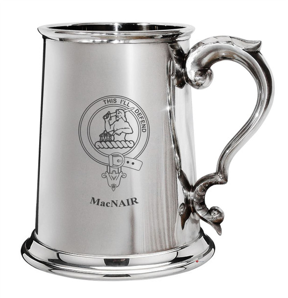 MacNair Family Crest Polished Pewter 1 Pint Tankard with Scroll handle